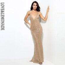 V 襟露出ビーズ素材ロングドレス & LM0252