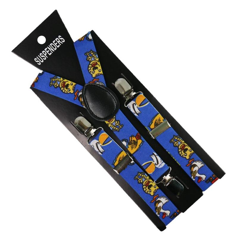 Winfox Fashion Animal Print Tiger Duck Suspenders Boys Girls Kids Children Elastic Y-Back Party Suspender