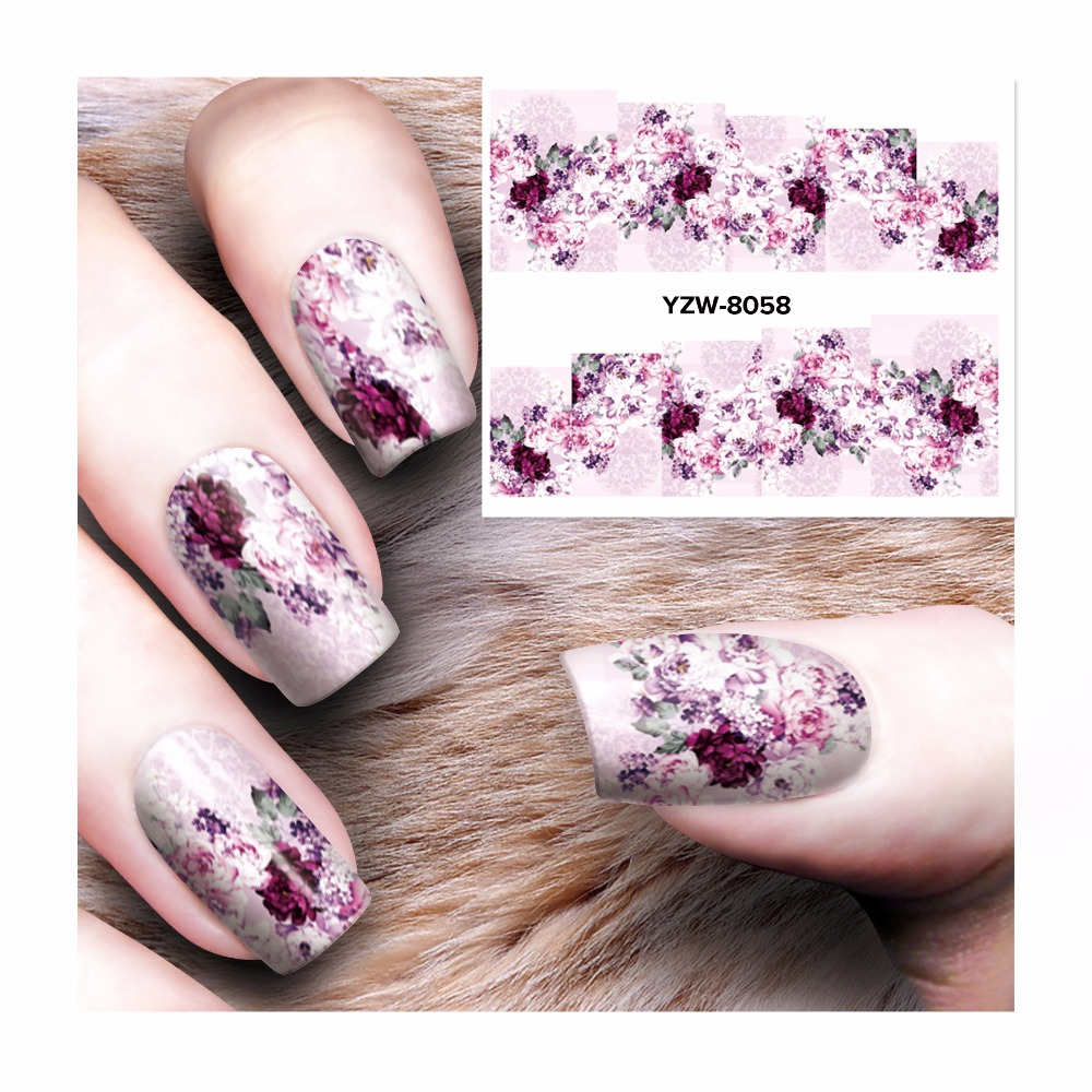 ZKO 1 Sheet Full Cover Flower Designs Nail Art Water Transfer Stickers Decals Nail Decoration Accessories 8058 yzwle 1 sheet nail art stickers animal pattern 3d mysterious black cat designs water transfers decals diy decoration accessories