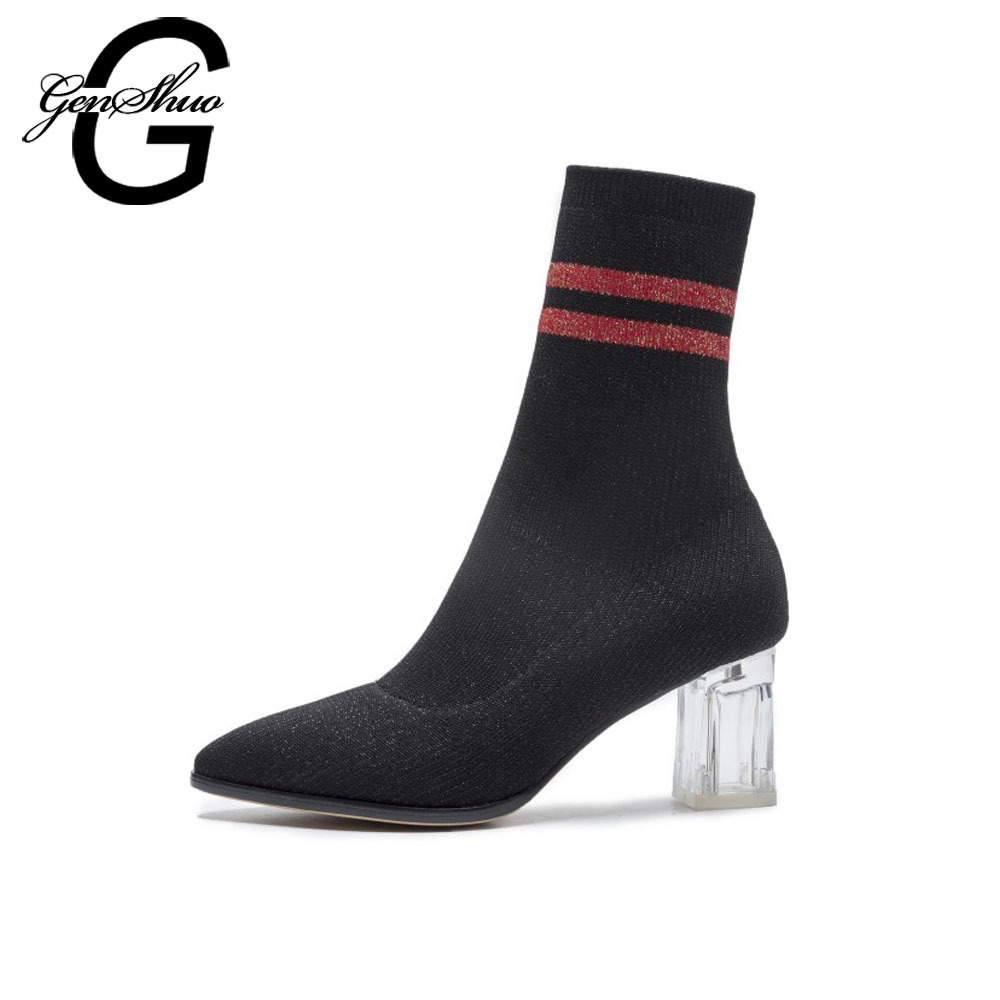 GENSHUO Autumn Mid Calf Boots For Women Shoes Sock Boots Crystal Heel Striped Stretch Boots Ladies Shoes Slip On Women Boots