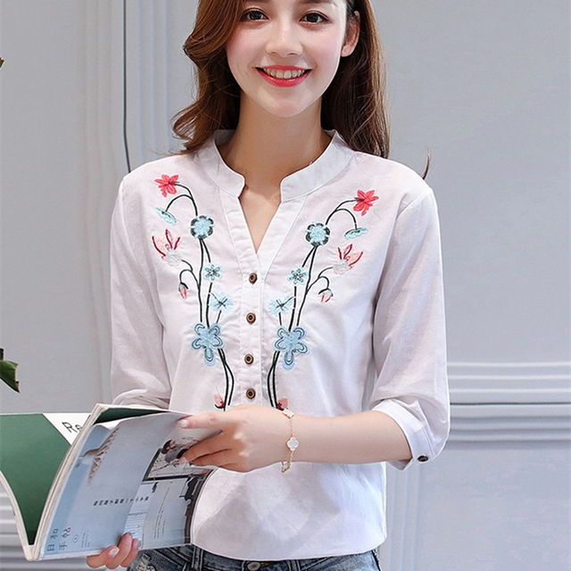 20b2ac197ba7 2017 Summer New Floral Embroidered Shirt Female Half Sleeve Korean Style  Women Blouse Loose Shirt Cotton Linen V-Neck Tops