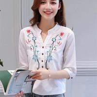 2017 Summer New Floral Embroidered Shirt Female Half Sleeve Korean Version Women Blouse Loose Shirt Cotton