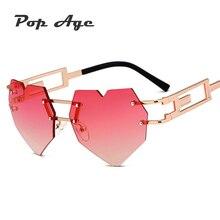 Pop Age 2018 Newest Love shape Sunglasses Women Fashion Alloy Gradient Sun Glasses Female Anti-Reflective Oculos de sol 400UV