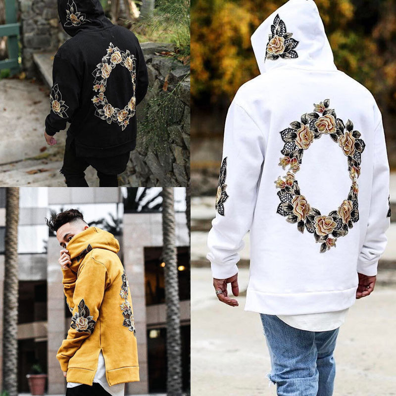 2019 NEW Autumn Hoodies Men Embroidery Floral Hooded Pullover High Street Fashion Cotton Hip Hop Zipper Streetwear Hoodie Male