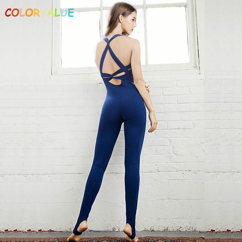 Colorvalue Sexy Cross Back Yoga Jumpsuits Women Quick Dry Skinny Dance Fitness Tracksuit Stretchy Ballet Aerial Yoga Bodysuits