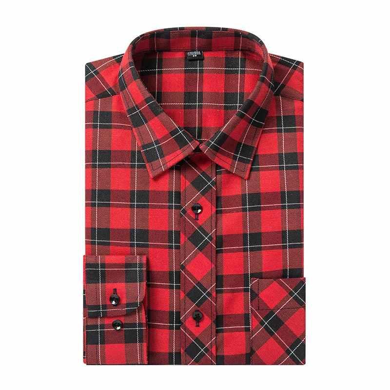 6ab632cddda 2018 новый дизайн красный плед мужские деловые повседневные рубашки  высокого качества с длинными рукавами популярные густой