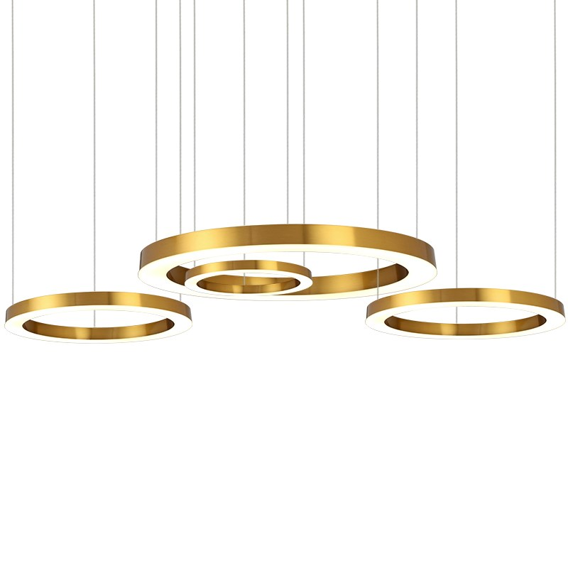 Gold Fashion Modern LED Pendant Light Fixtures Ring Shape Acrylic Droplight For Dining Room Hanging Lamp