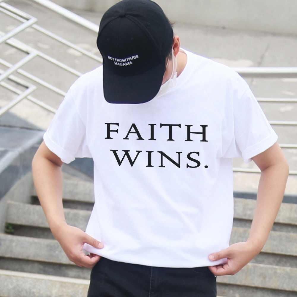 النساء تي شيرت الإيمان يفوز قميص تحفيزية للجنسين تي شيرتات قصيرة الاكمام الروحية Womans تي شيرت المسيحية العصرية المحملة الكبار