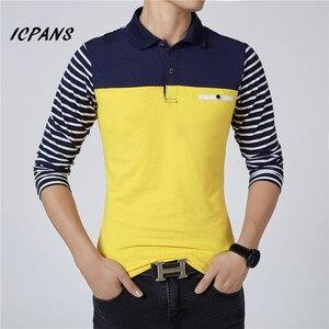Image 5 - ICPANS الرجال قميص بولو مخطط طويل الأكمام قمصان بولو الرجال سليم صالح حجم كبير 5XL 2018 Hot البيع ربيع الخريف قمصان بولو للرجال