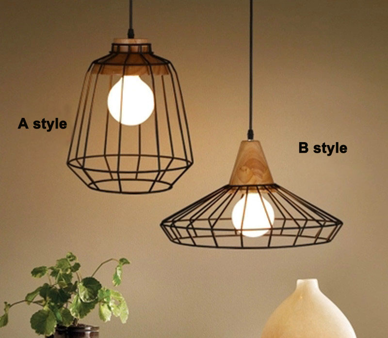 Pendant birdcage shade Loft Industrial Pendant Lights Vintage RH Edison Hanging Lamp E27 110 220V Pendant Lamps For Home Decor rh loft vintage decoration pendant lamp