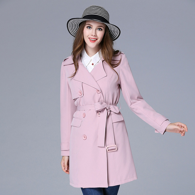 2016 autumn design women long trench coat pink double breasted women's plus size casual long outerwear with sash XL-5XL