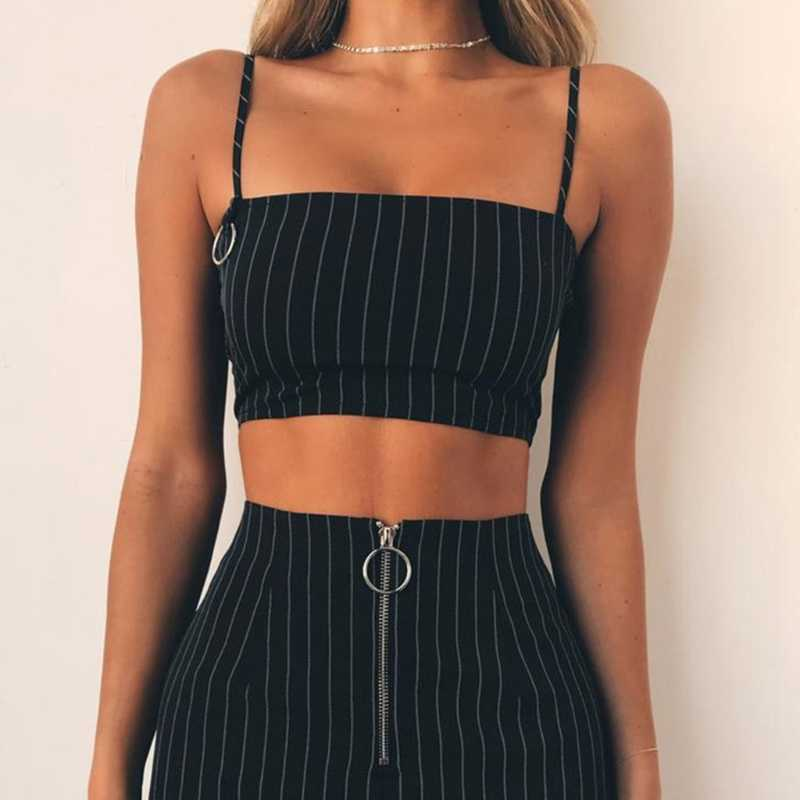 Fashion Women's Casual Sleeveless Striped Vest Spaghetti Strap Crop Top Metal Ring Cami Hot New High Quality 2018