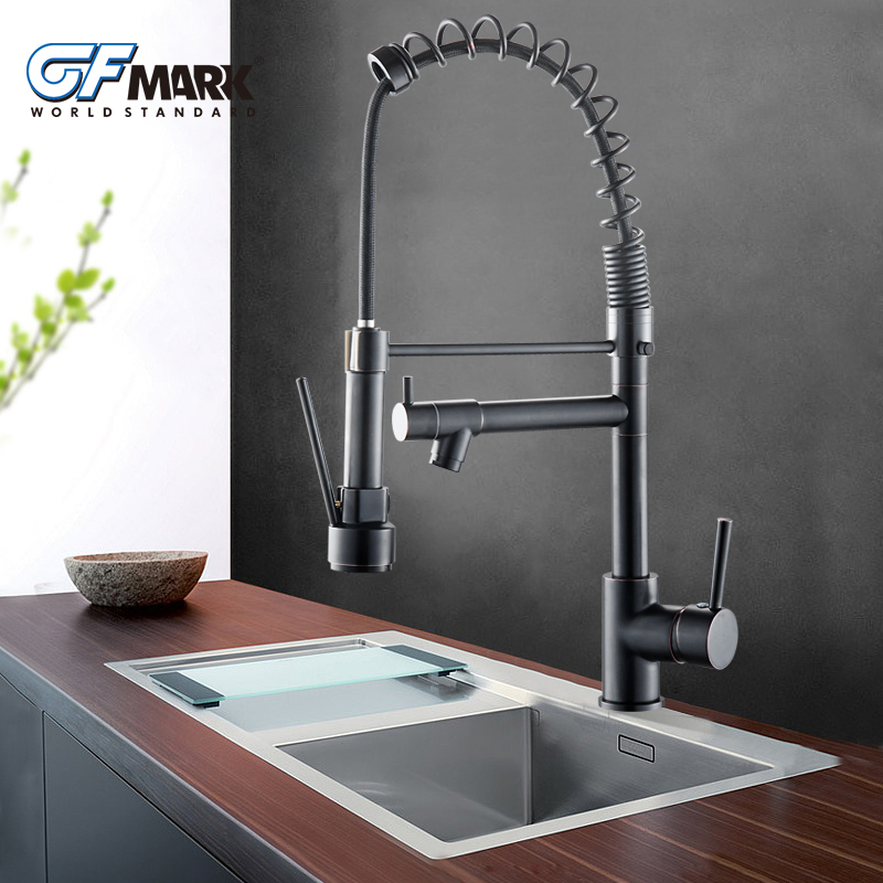 Chrome Brass Basin Kitchen Faucet Vessel Sink Mixer Tap Spring Dual Swivel Spouts Sink Mixer Bathroom Faucets Hot and Cold