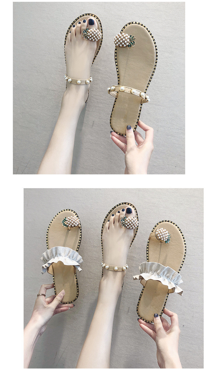 HTB1DWVObRGw3KVjSZFwq6zQ2FXaj Women Sandals Flip Flops Slippers Flats Shoes String Bead Summer Fashion Wedges Woman Slides Pineapple Lady Casual Female