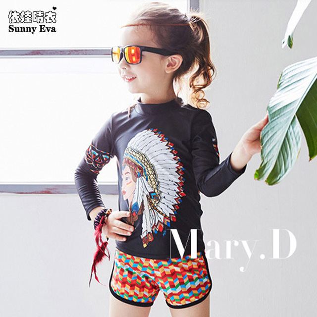 b8776ed266 sunny eva girls swimsuit two piece swim suit kids Indian head print long  sleeve swimwear with short or pants children