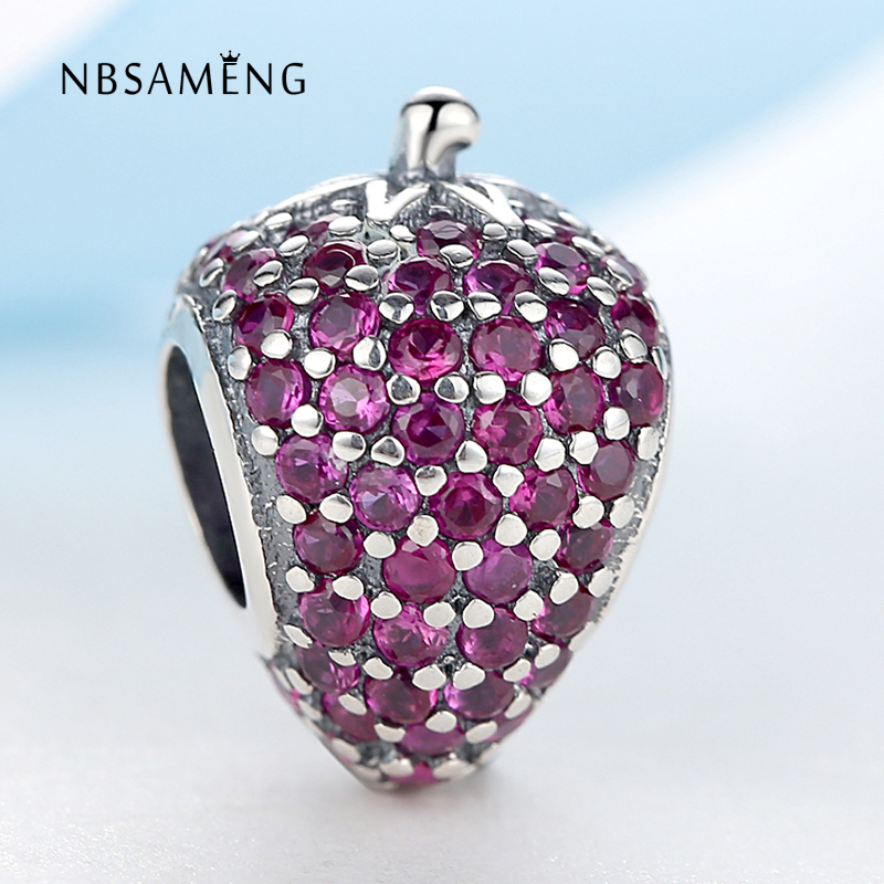 Authentic 925 Sterling Silver Beads Charms Red double side Full Crystal Strawberry DIY Bead Fit Pandora Charm Bracelets Jewelry