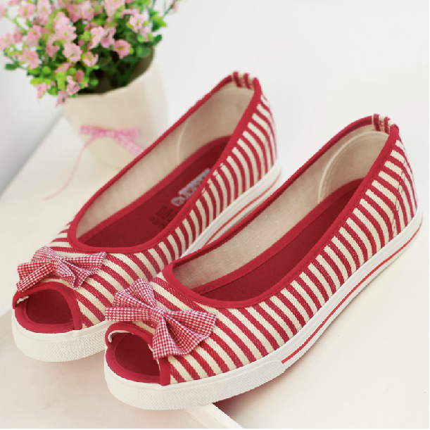 Striped Open Toed Flat Canvas Shoes