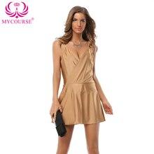 MYCOURSE Sommer Kleid Frauen Sexy Elegante Spaghettibügel Tiefem V-ausschnitt Patchwork Backless Rüschen Promi Party Kleider