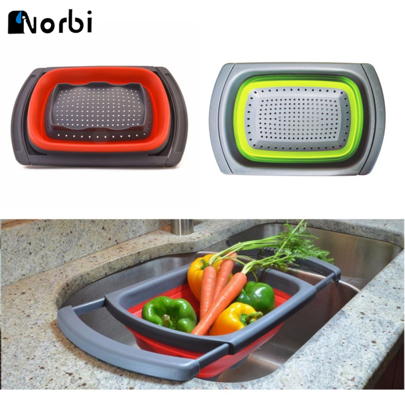 Kitchen Colander Vegetable Fruit Strainer Extendable Handle Over the Sink Strainer Folding Drain Basket Kitchen Sink Accessories
