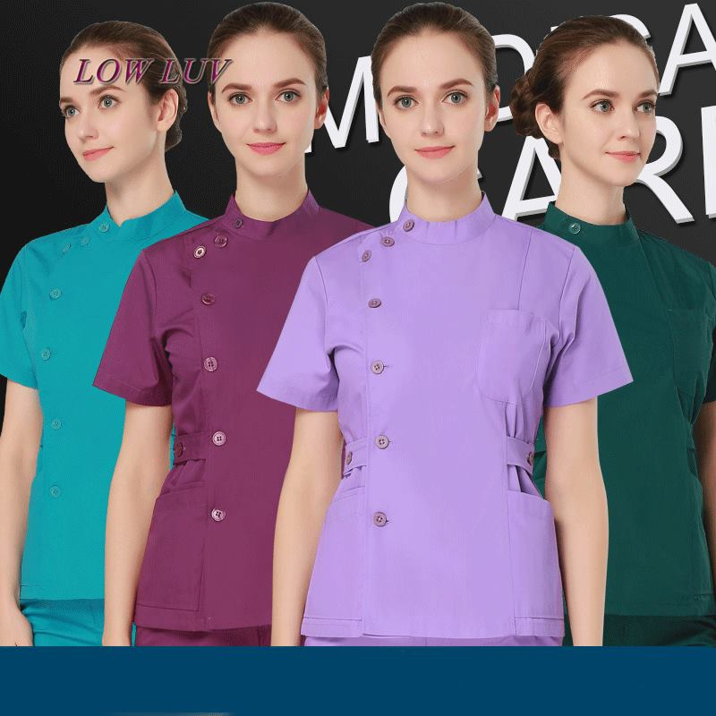 2017 Cheap Summer women hospital medical scrub clothes set sale design slim fit dental scrubs beauty salon nurse uniform spa