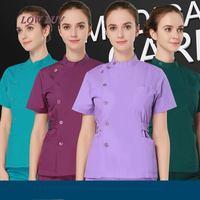 2017 verano barato mujeres Hospital Médico Scrub ropa set venta diseño slim fit dental friega uniforme de la enfermera del salón de belleza