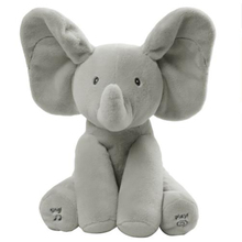 hot deal buy flappy elephant baby elefante plush peek a boo elephant animals electric stuffed plush toy play music toys for children 2c022