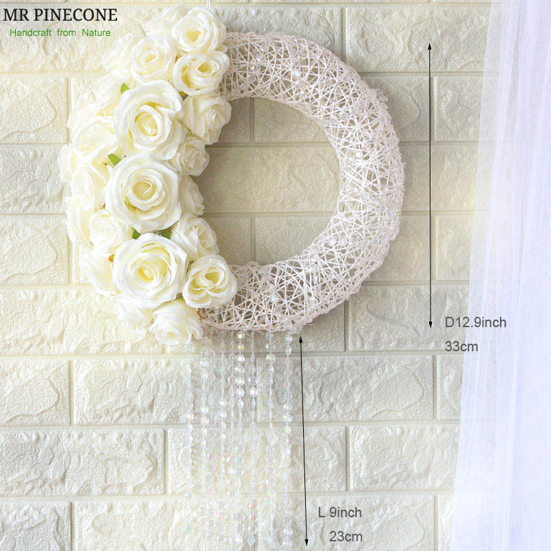 D12.9 Wedding Decoration Door White Rose White Wreath Valentine's Day Decor Party Mother's Day Bride Gift Wedding's Wreaths