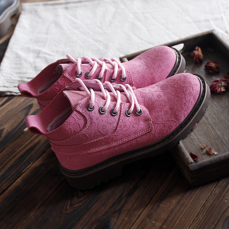 New 2016 Genuine Leather Shoes Pure Handmade Printing Leather Shoes The Retro Art Mori Girl Shoes