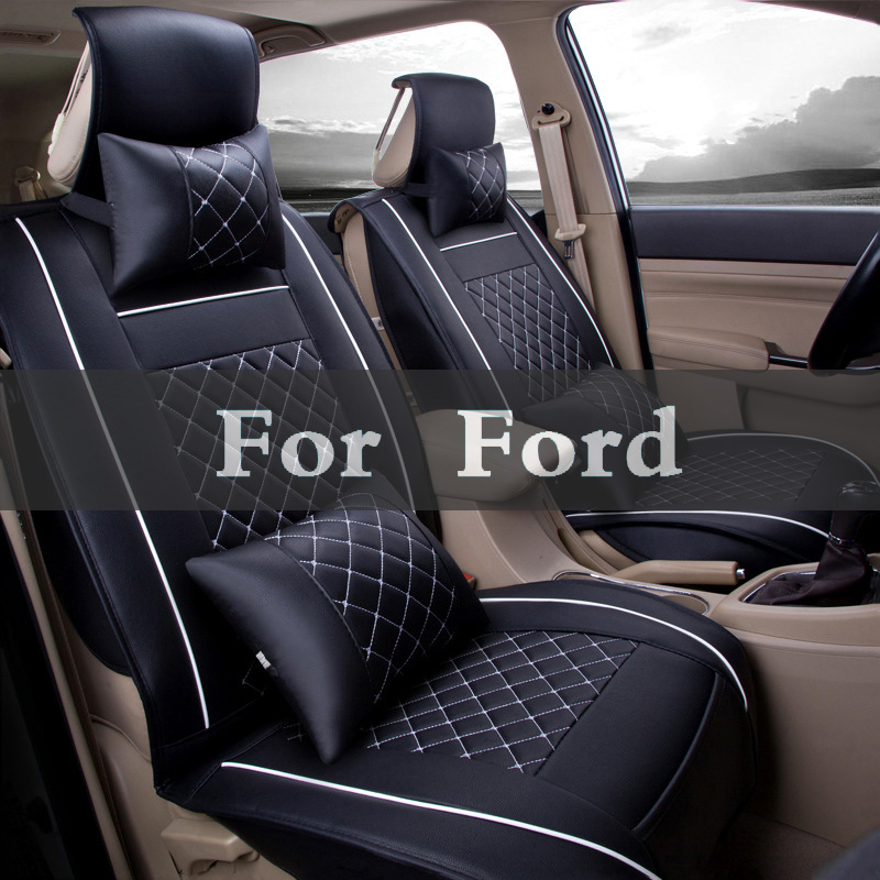 Auto(Front + Rear) Universal Leather Car Seat Covers Pad For Ford Crown Escape Excursion Everest Victoria Edge Ecosport kitmmm5910121296unv20630 value kit highland transparent tape mmm5910121296 and universal perforated edge writing pad unv20630