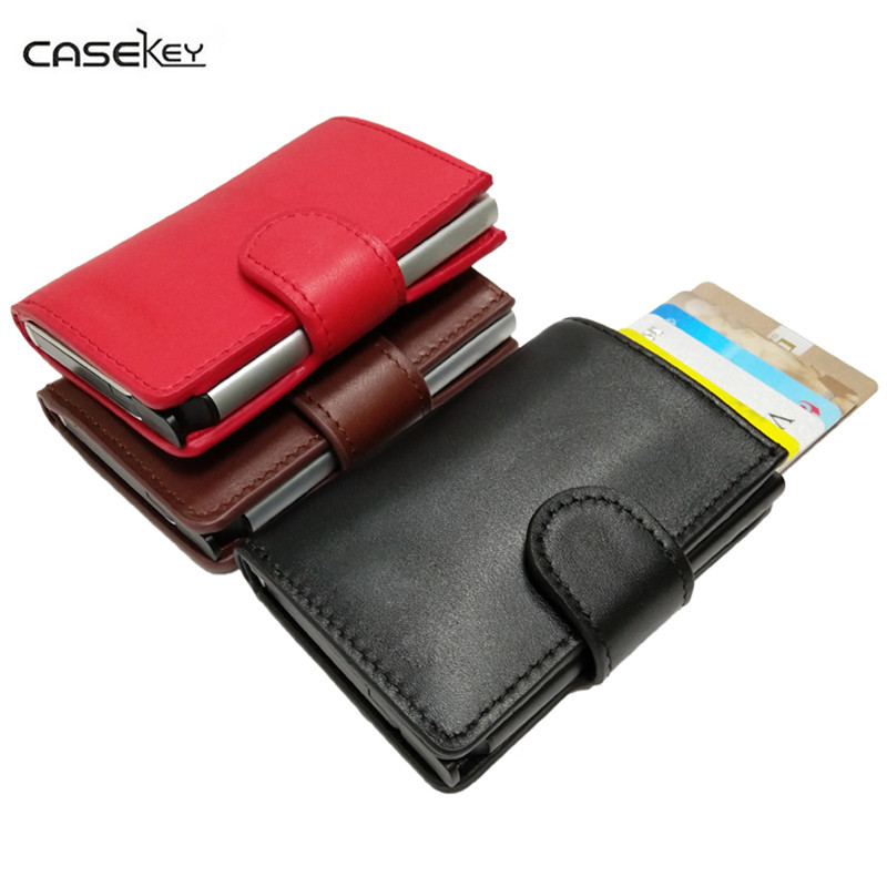 CaseKey Wholesale Leather Convenient ID Pocket Bank Credit Card Case Thin Card Wallet Men Cash Cards Pack Bus Card Holder NEW non standard die cut plastic combo cards die cut greeting card one big card with 3 mini key tag card