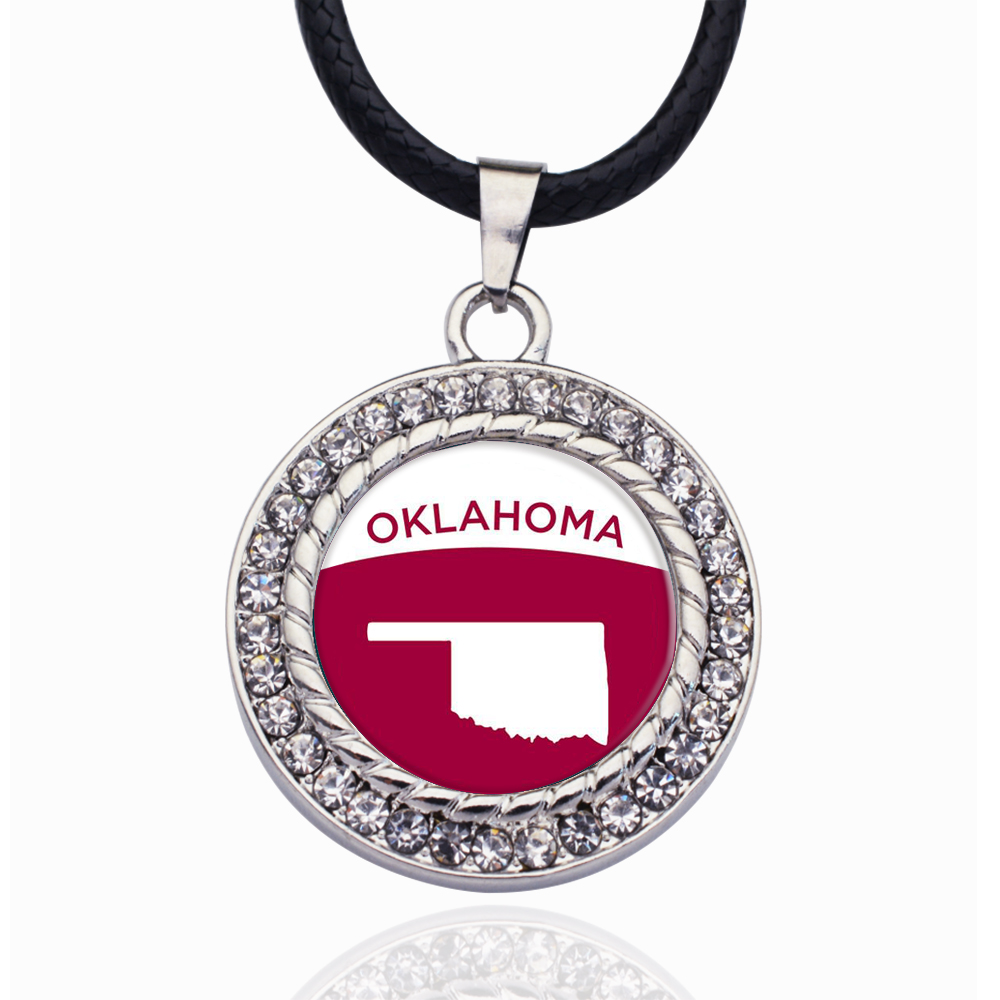 Oklahoma Outline Circle Charm Crystal Pendant Necklaces For Women Vintage Charm Choker Necklace Party Jewelry Gift(China)