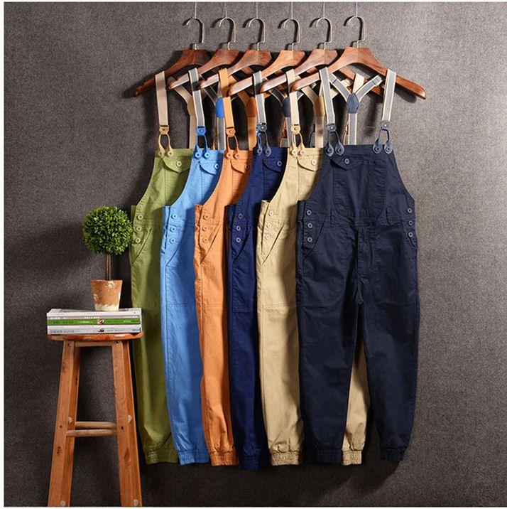 2017 New Men Jumpsuit Casual Straight Cotton Pocket Overalls Trousers Men Bib Pants Solid color hip hop cargo pants 033005