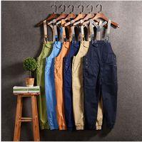 2019 New Men Jumpsuit Casual Straight Cotton Pocket Overalls Trousers Men Bib Pants Solid color hip hop cargo pants 033005