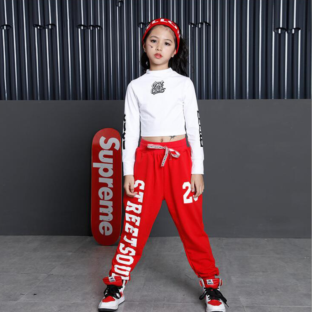 Fête des enfants spectacle Performance Costumes enfants vêtements Hip Hop Dancewear tenues filles moderne Jazz danse Costumes ensembles Top + pantalon - 6