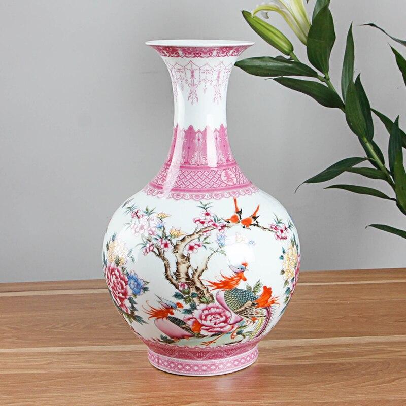 chinese stijl antieke roze keramische bloemenvaas decoratieve vazen woonkamer woondecoratie accessoires vaas in chinese stijl antieke roze keramische