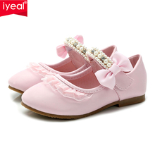 IYEAL Весна Діти Дівчата Шкіра Жіноче взуття Мода Квітка Дитяча Принцеса Бабочка В'язання Підліткові Діти Дівчата Весільне взуття