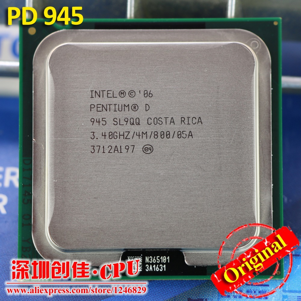 Free shipping Original PD 945 desktops cpu for Intel Pentium D 945 4M Cache 3.40 GHz 800 MHz LGA 775 P D 950 CPU PD945