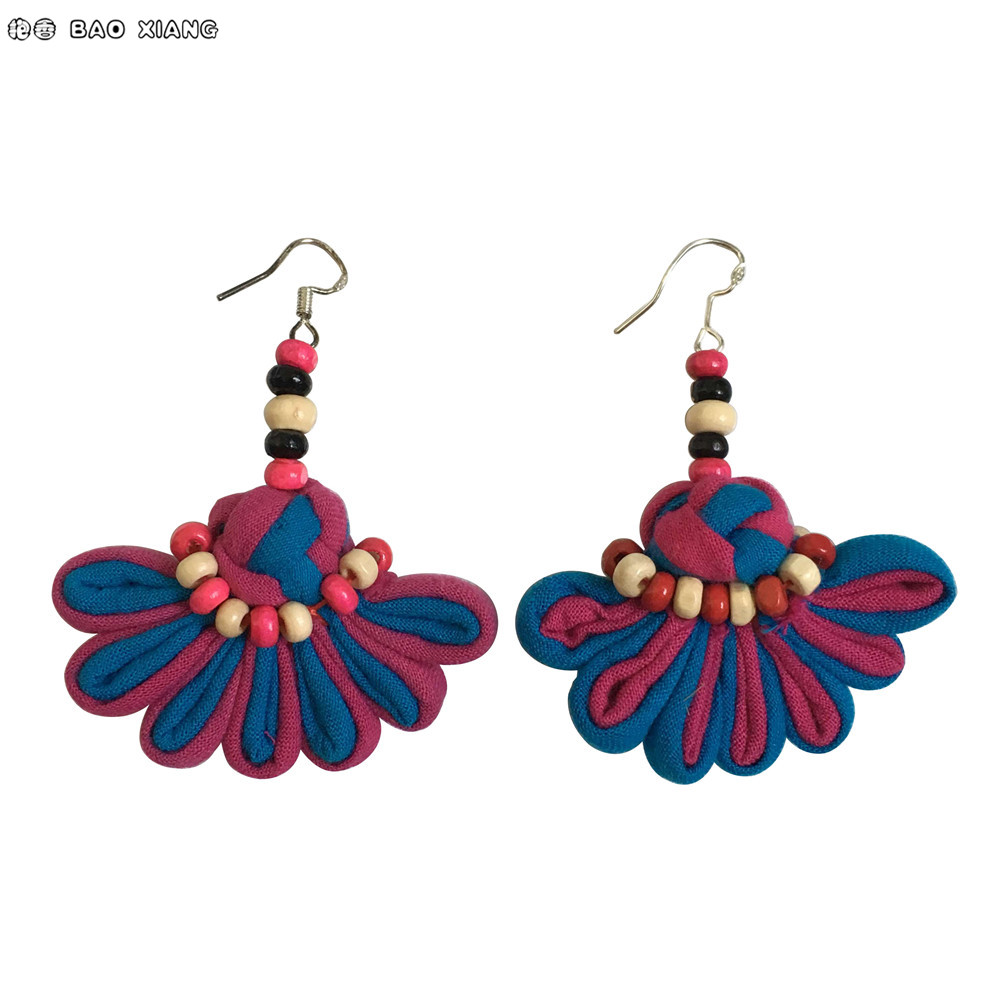 2017 Chinese Ethnic Jewelry Cotton Fabric Cloth Art Earrings ...