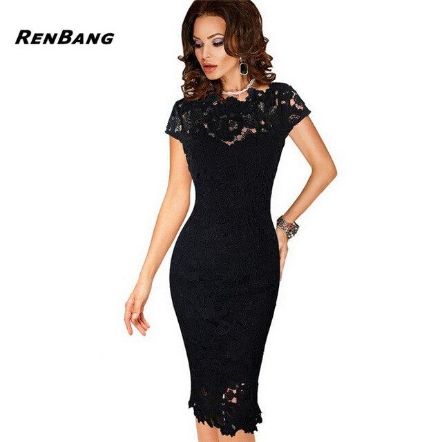 816da39fe42 RENBANG Women Elegant Lace Dress Summer Sexy Crochet Hollow Pinup Party  Dresses Evening Sheath Bodycon Vestidos Dress Female