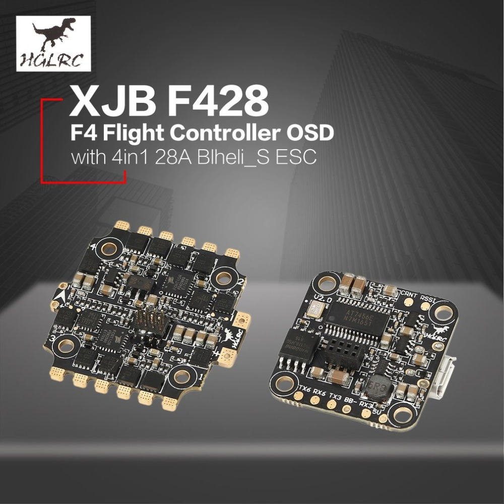 HGLRC XJB F4 Tower Flight Controller Betaflight OSD 2-4S 4in1 Blheli_S ESC for 65mm-250mm RC Racing Quadcopter Drone