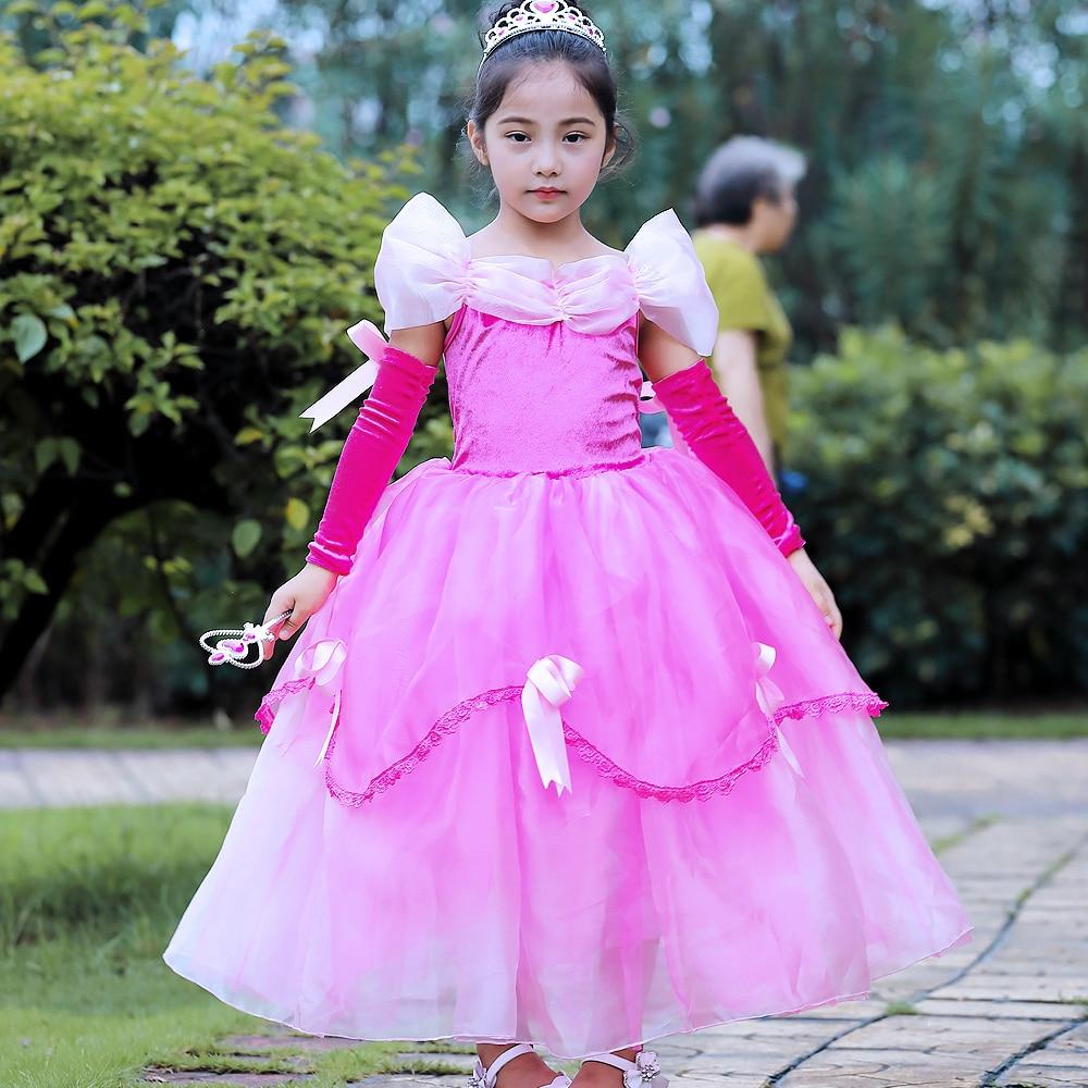 Girls Sleep Beauty Costume Kids Clothes Girls Cinderella Belle Dresses  Party Snow Queen Elsa Dress Children clothing Christmas 54a659223a0b