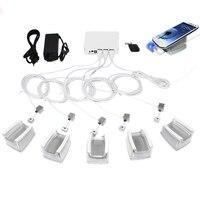6 портов мобильного телефона дисплей безопасности стенд держатель сигнализации зарядки для всех телефонов и планшетов с акриловым стоять с...