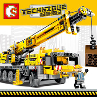 665pcs Technic Engineering Lifting Crane Building Blocks Compatible Technic truck Construction Brick Toys For children