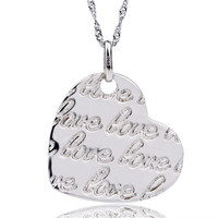 Fashion 925 Sterling Silver Jewelry Love Heart Carving Alphabet Letters Love Necklace Pendants Valentine S Day