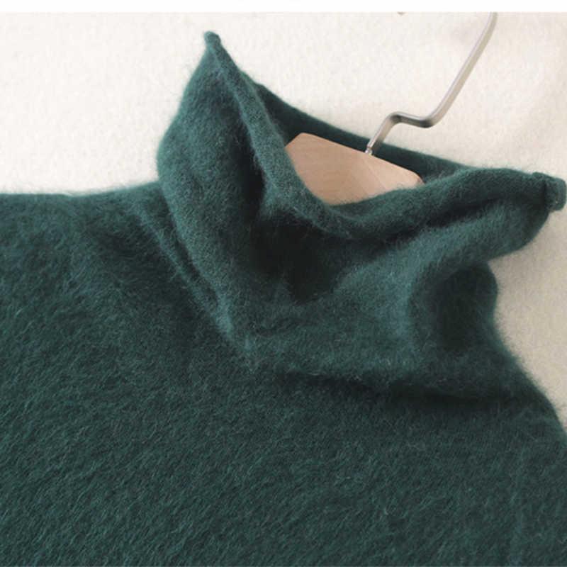 가을과 겨울의 새로운 순수 밍크 캐시미어 높은 칼라 셔츠 칼라 더미 여성-긴팔 스웨터 따뜻한 스웨터 헤지