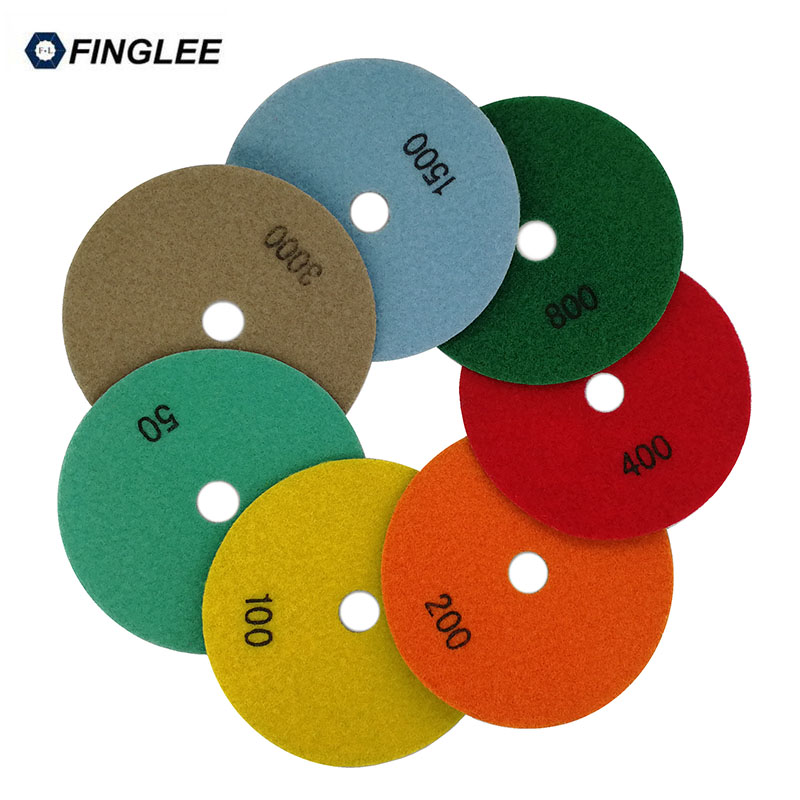 5 inch Dry Diamond polishing pad 7pcs+Rubber Connector Joint Backer Granite,marble,Concrete Ceramic Stone work restoration