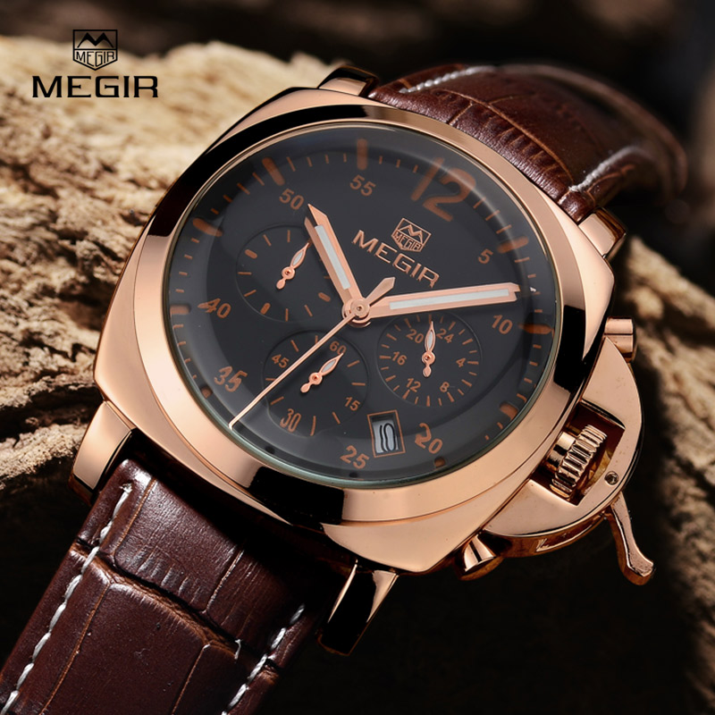 MEGIR fashion sport quartz watches men hot casual brand watch man leather analog running wristwatch male luminous hour clock
