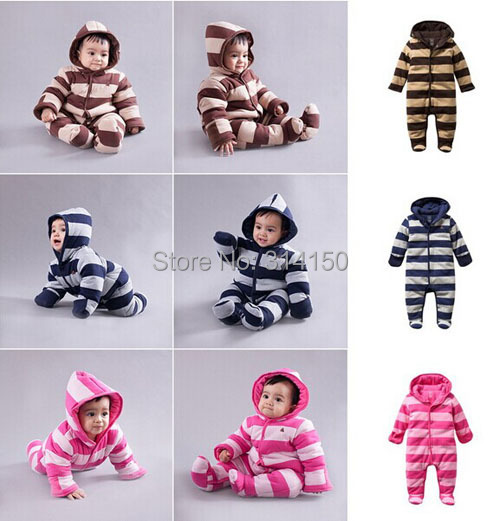 Baby Rompers  Winter New Style Baby Boys/Girls One-Piece Romper Infant Stripe Warm Jumpsuit for 3-24M 1pcs free shipping
