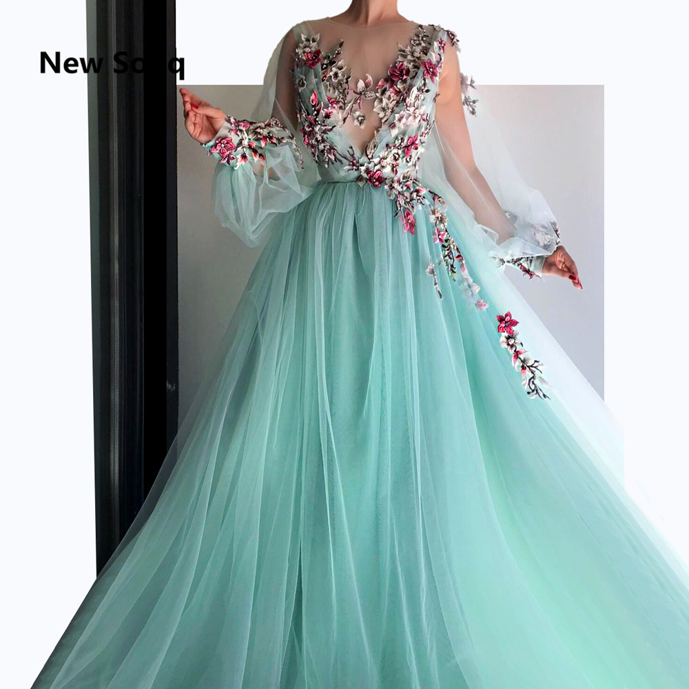 Summer Tulle Illusion Sexy Prom Dresses Flower Appliqued O Neck Long Sleeves Sweep Train Prom Dress