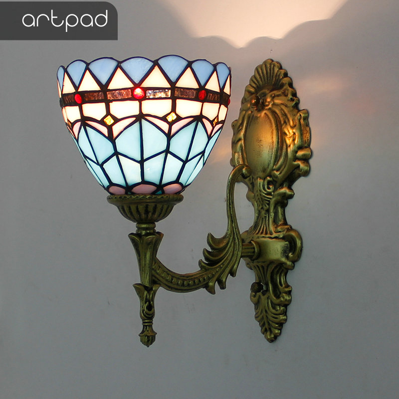 Artpad European Retro Up Down Stained Glass Butterfly Wall Lights for Bedroom Bedside Corridor Mirror Front E27 LED Turkish Lamp in LED Indoor Wall Lamps from Lights Lighting